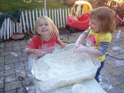 Mixing Snow Dough