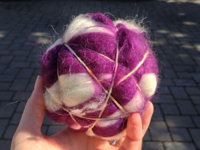 rubber band wrapped felt ball